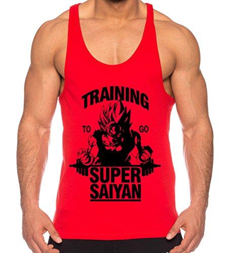 THE LION Goku Super Saiyan Camicia Muscolare Canotta da Uomo One Goku Dragon Master Son Ball Vegeta Turtle Roshi Piece Gym, Farbe2:Rot;Größe2:L