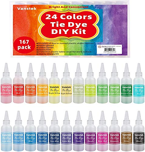 Vanstek Tie Dye DIY Kit, 24 Colors Tie Dye Shirt Fabric Dye for Women, Kids, Men, with Rubber Bands, Gloves, Plastic Film and Table Covers for Family Friends Group Party Supplies