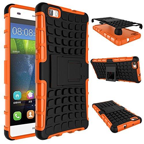 pinlu Custodia per Huawei Ascend P8 Lite Smartphone Armatura Rugged Heavy Duty Cover Doppio Strato TPU + PC Antiurto Protettiva Case Pneumatico Modello Arancione