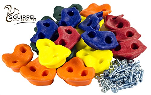 "Squirrel Products 20 Extra Large Deluxe Rock Climbing Holds - with Mounting Hardware for up to 1"" Installation - Outdoor Play Accessories - Ages 3 Years and Older"