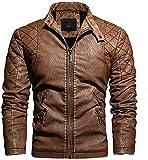Giacca da moto da uomo in pelle con colletto e colletto - kaki - X-Large