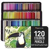 120 Lápices de Colores (Numerados) con Caja de Metal - Estuche de Lapices de Dibujo Profesional para Mandalas y Libros de colorear para Adultos