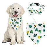 HACRAHO Juego de bandana y collar para perro, 2 bandanas y collares ajustables para perros con bufanda de campana, baberos triangulares para perros, gatos, piña