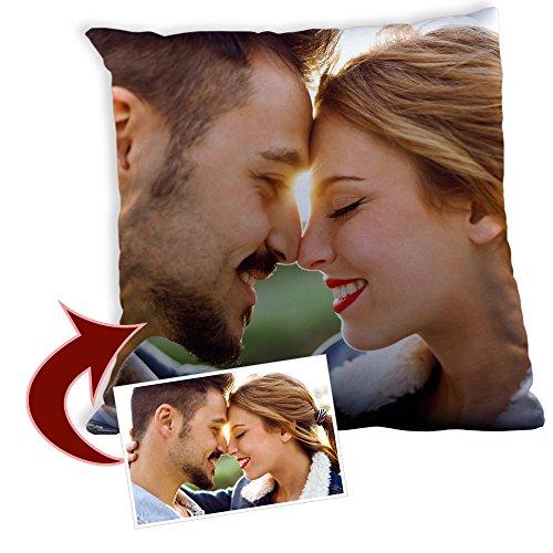 LolaPix Cojin Personalizado con Foto. Regalos Personalizados con Foto. Impresión Total por Las 2 Caras hasta la Costura. Relleno Incluido. Varios Tamaños. 30X30
