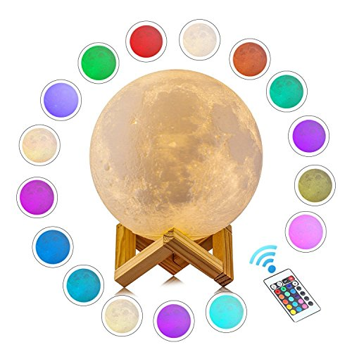 WANICE Full Moon Lamp 3D Moon Light with Wooden Holder, LED Lunar Night Light Remote Control Table Lamp Dimmable Brightness 16 Main Colors, 4 Light Conversion Modes with USB Charging Moonlight (15 cm)