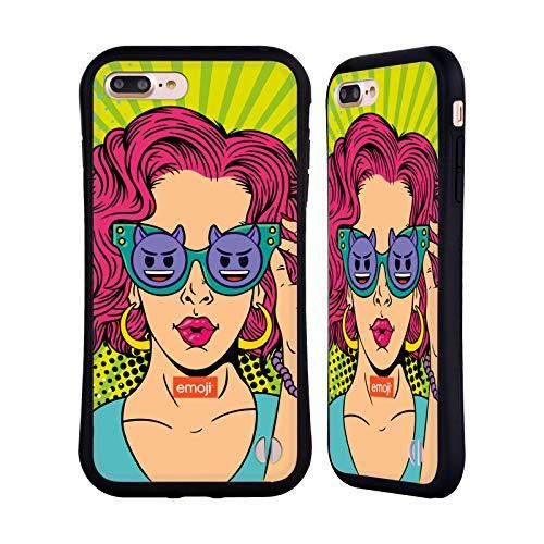 Head Case Designs Oficial Emoji® Pelo Rosa Arte Pop Carcasa híbrida Compatible con Apple iPhone 7 Plus/iPhone 8 Plus