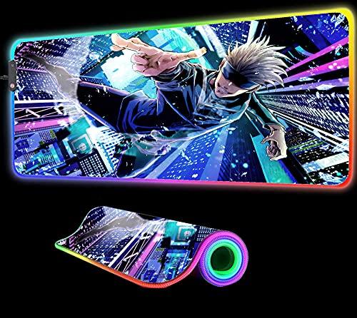 Mouse Pads Jujutsu Kaisen Anime Mouse Pad Gaming RGB Large Gaming Gamer Big Mat Computer Led Backlight Keyboard Desk Mat,24 inch x12 inch