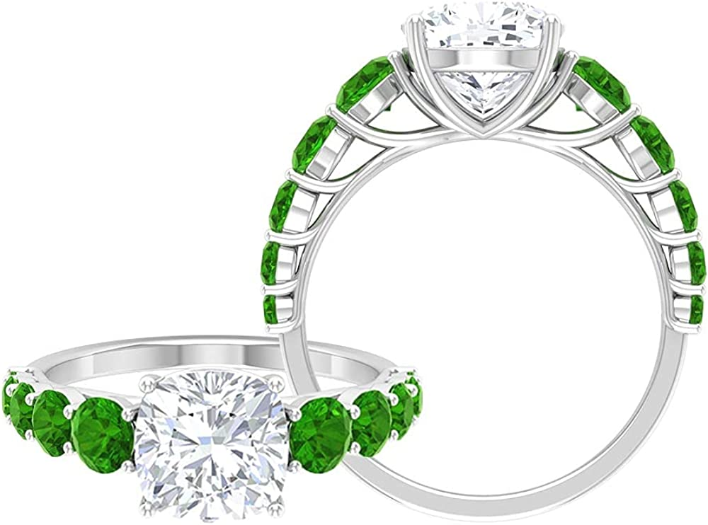 3.25 CT Moissanite Solitaire Ring Created Side Large special price !! St Beauty products with Tsavorite