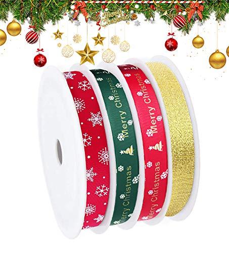 Cinta Navidad,4 Estilos Cinta de Navidad de Tela para Envolver Regalos,Total 55m Cintas de Grogrén Navideñas con Patrón de Copo de Nieve/árbol Rojo Verde Dorado