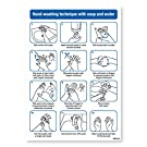 Hand-washing technique with soap and water, hygiene standards, Toilet and Washroom Hygiene Safety Signs - 1mm Rigid Plastic, A4-297 x 210mm