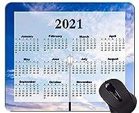 カラフルな2021年カレンダーマウスパッド、明るい空雲青いマウスパッド