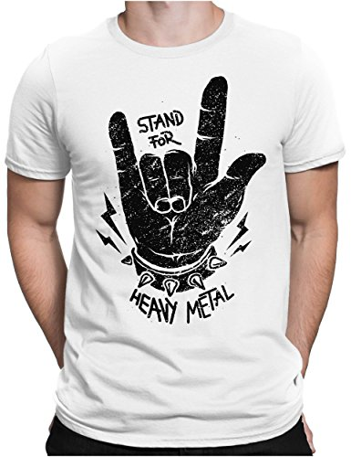 PAPAYANA - Stand for Heavy Metal Black - Herren Fun T-Shirt Bedruckt - Music Band Punk Rock - Large - Weiß