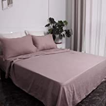Victory Symbol 100% French Natural Linen Bedding Ultra Soft Stone Washed 4 Piecces Sheets Set(Rose Pink,Queen)