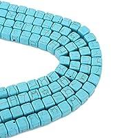50stk Türkis Perlen Halbedelstein Edelsteine 8mm Blau Würfel 1 Strang Schmuckstein für Kette, Ring, Basteln Turquoise Beads G248
