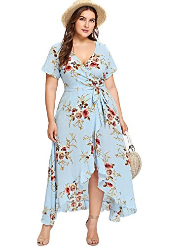 Milumia Plus Size Short Sleeves Wrap V Neck Belted Empire Waist Asymmetrical High Low Bohemian Party Maxi Dress Blue 2XL