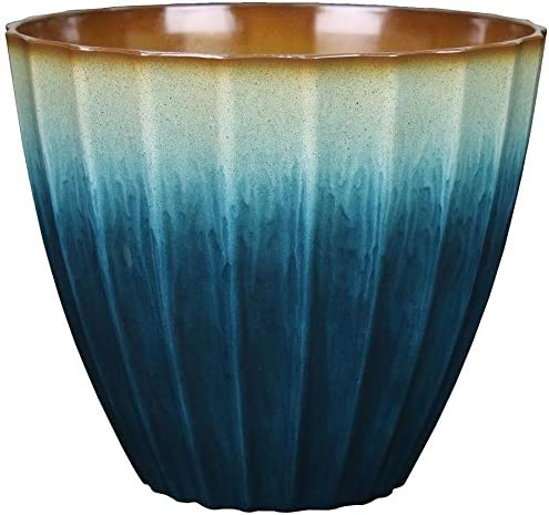 allen + roth 11.38-in W x 10.39-in H Teal Resin Planter