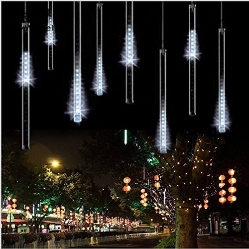 Rain Drop Lights, Aukora LED Meteor Shower Lights 11.8 inch 8 Tubes 144leds, Icicle Snow Falling Lights for Xmas Wedding Party Holiday Garden Tree Christmas Thanksgiving Decoration Outdoor (White)