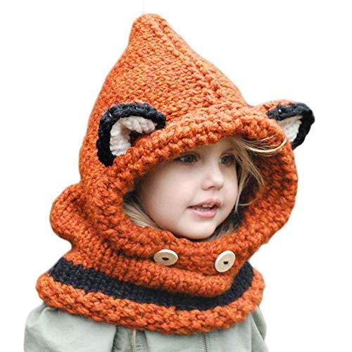 Azornic Baby Mädchen Jungen Wintermütze Schal Ohrenklappen Kapuze Schals Kappen für 2–8 Jahre Kinder Gr. Medium, Orange