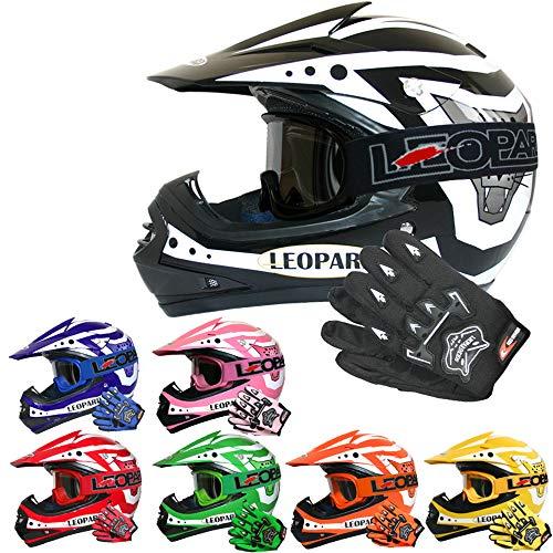 Leopard LEO-X17 Kinder Motocross MX Helm { Motorradhelm + Handschuhe + Brille} Schwarz M (51-52cm) ECE Genehmigt Crosshelm Kinderquad Off Road Enduro Sport