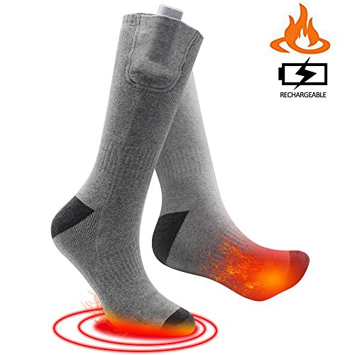 SVPRO Rechargeable Electric Heated Socks Battery Powered Comfortable Thermo-Socks,Cold Weather Thermal Socks Sport Outdoor Camping Hiking Warm Winter Socks for Men Women (Gray(Bottom Heat), M)