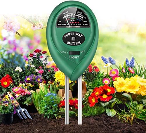 JulyPanny Soil pH Meter, Soil Moisture/Light/pH Tester Gardening Tool Kits for Plant Care, 3-in-1 Soil Test kit Great for Garden, Lawn, Farm, Indoor & Outdoor Use (Green)