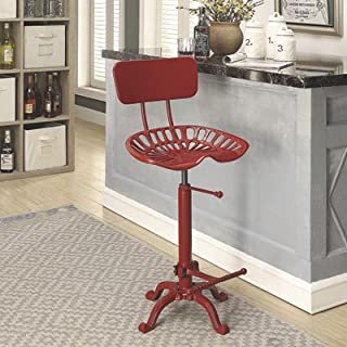 CAROLINA CHAIR Farmhouse Tractor Seat Stool with Backrest, Red