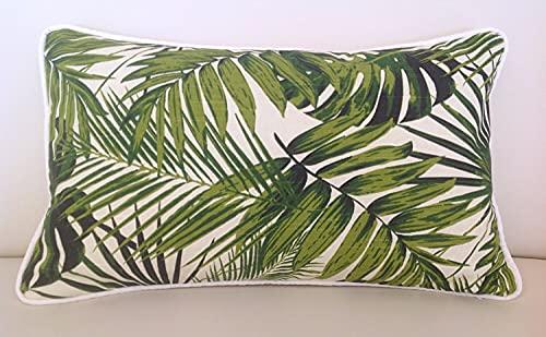 Lumbar Pillow Palm Leaf Almohadas Tropicales, Funda de Cojín Tropical, Natural, Turquesa Cojines, Scatter Cojines Azul y Verde