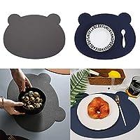 MG 熊 食事レザーマット デュアルユース設計 キッズ レザーランチョンマット ベビー テーブルマット 撥水食べこぼしマット 子供用 (ブルーとグレー)