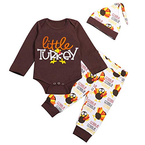 GRNSHTS Thanksgiving Baby Boy Girl Outfits Unisex Little Turkey Long Sleeve Romper+Gobble Turkey Pants+Hat 3Pcs Clothes (Z Brown, 12-18 Months)