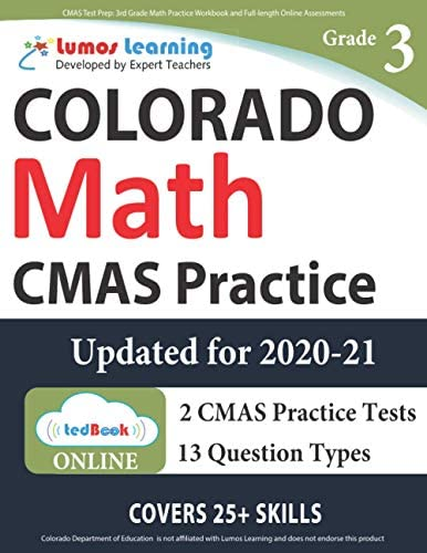 CMAS Test Prep 3rd Grade Math Practice Workbook and Full length Online Assessments Colorado product image
