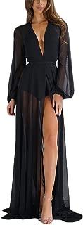 Women Sheer Long Dress Gown See Through Kimono Robe Bikini Cover Up
