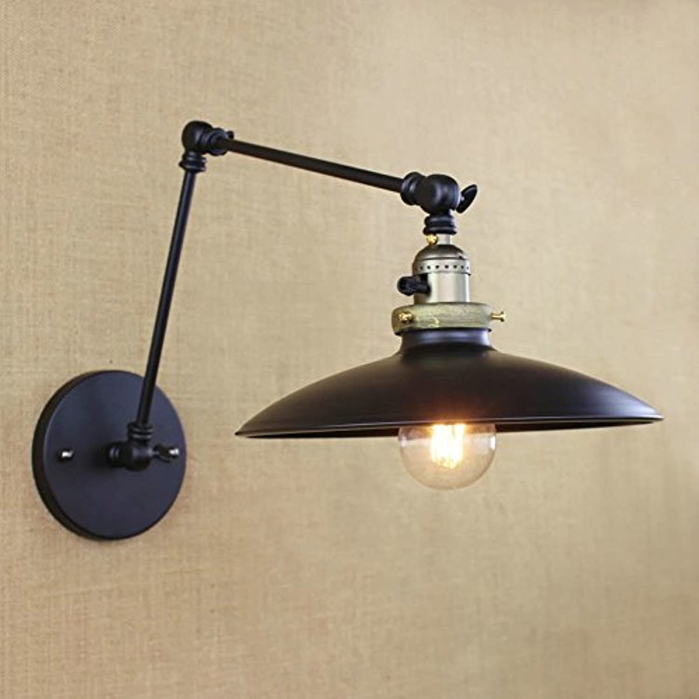 JXJJD Kreative einkopf verstellbar eisen wandleuchte einfach zu installieren arm licht wohnzimmer schlafzimmer nachttischlampe balkon flur garten licht lernen eingang licht treppenlicht gert (schwarz