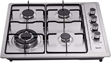 Deli-kit DK245-B01T 24 inch gas cooktop gas hob 4 Burners LPG/NG Dual Fuel 4 Sealed Burners brass burner Stainless Steel Right Knobs gas hob 4 Burners Built-In gas hob 110V AC pulse ignition