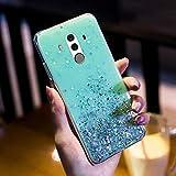 Uposao Compatibile con Huawei Mate 10 Pro Silicone Brillantini Colorate Belle Glitter Morbido Gomma Custodia Brillante Slim Bumper Case Chiaro Protezione,Verde