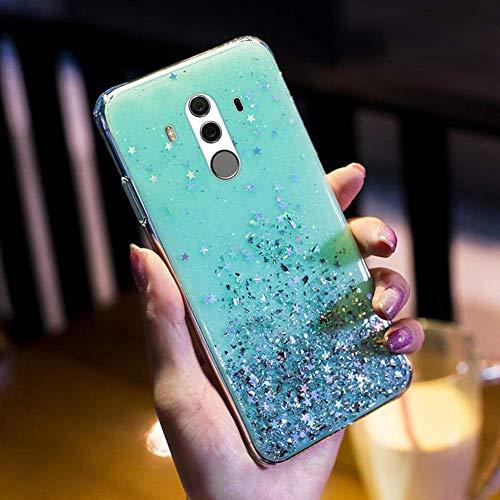 Herbests Kompatibel mit Huawei Mate 10 Pro Handyhülle Glänzend Bunt Strass Sterne Glitzer Weich Silikon Hülle Ultra Dünn Crystal Clear Handytasche Durchsichtige Schutzhülle Case,Grün