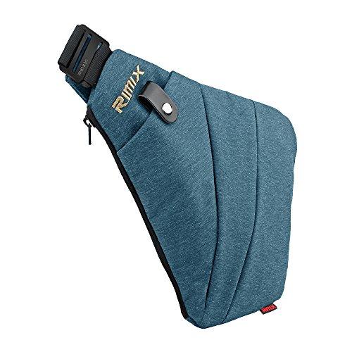 Asgens RIMIX Mehrzweck Anti-Diebstahl Versteckte Sicherheitstasche Unterarm Schulter Achselhöhle Kuriertasche Sport Freizeit Brust Tasche Tragbarer Rucksack(Blau/Für Rechtshänder)