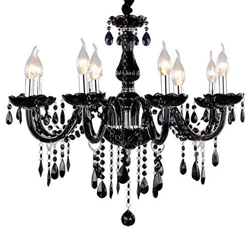 LeMeiZhiJia Kristall Kronleuchter Vintage Lüster Deckenleuchte Pendelleuchte Schwarz für Wohnzimmer Esszimmer Schlafzimmer (8 Flammig)