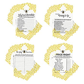 Bumblebee Baby Shower Games Bundle  25 Players  Activities Included Word Scramble - Guess the Price - Name Game - Who Knows Mommy Best – Mama to Bee Gender Reveal Party