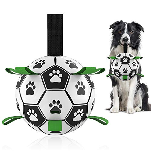 Dog Toys Soccer Ball with Grab Tabs, Interactive Dog Toys for Tug of...