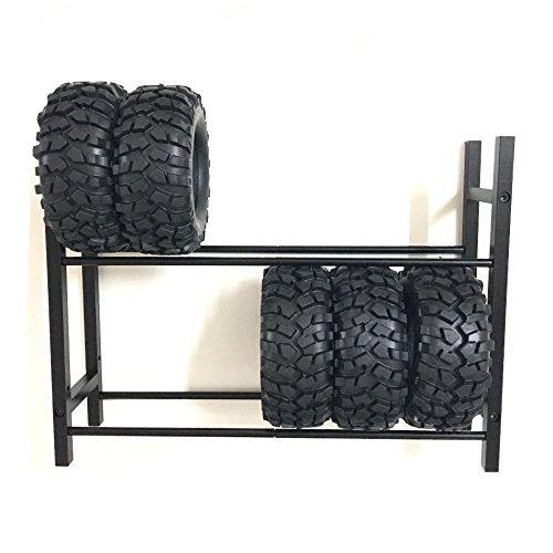 XJJ Black 1:10 RC Car Tire Rack/Wheel Rack for 1/10 Wheel Rims Tire TRX-4 SCX10 D90 CC01