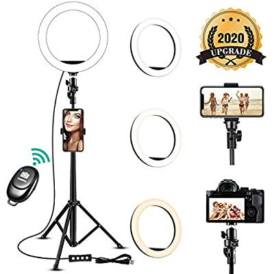 8'' Selfie Ring Light with Adjustable Tripod Stand - Upgraded Dimmable Camera Ring Light with Phone Holder for TikTok/YouTube/Live Stream/Makeup/Photography Compatible with iPhone Android Samsung by SZTODI