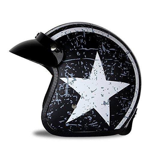 Woljay 3/4 Offener Sturzhelm, Helmet Motorrad-Helm Jet-Helm Scooter-Helm Vespa-Helm Halbhelme Motorrad Helm Flat mit Rebellen Star Graphic Schwarz Weiß (L)