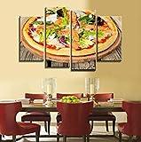 WWWMR Moderne Décor À La Maison HD Imprimer Peinture sur Toile Œuvres 4 Pièces Toile Peinture Aliments Pizza Affiche Cuisine Restaurant Mur Art Photo 08-B