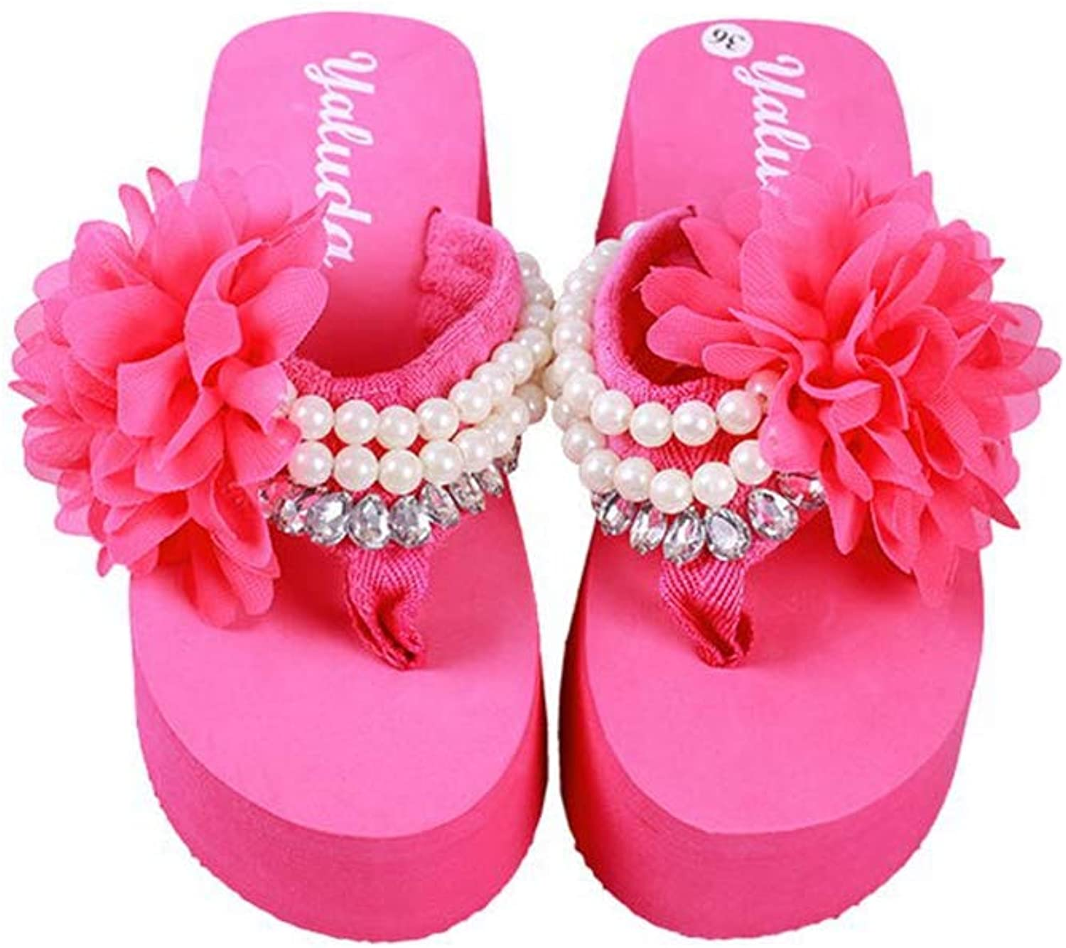 T-JULY Summer Wedge Heels Slippers Women shoes Lace String Bead Pearl Flip Flops Ladies Platform Thick Soled Sandals