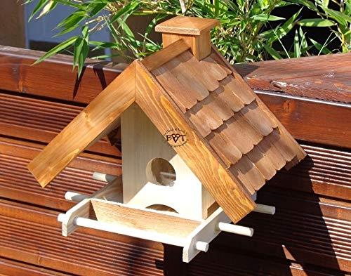 """Vogelhaus + XXL- FUTTERSILO,K-VOWA3-dbraun001 NEU Vogelhäuschen PREMIUM-Qualität,Vogelhaus,""""MEGASILO"""" KOMPLETT mit Futtersilo + SICHTGLAS für Vorrat PREMIUM-Qualität,Vogelhaus,- ideal zur WANDBESTIGUNG – Futterhaus, Futterhäuschen, Qualität Schreinerware 100% Massivholz – VOGELFUTTERHAUS MIT FUTTERSCHACHT-Futtersilo Futterstation Farbe braun dunkelbraun schokobraun rustikal klassisch, Ausführung Naturholz MIT TIEFEM WETTERSCHUTZ-DACH für trockenes Futter - 6"""