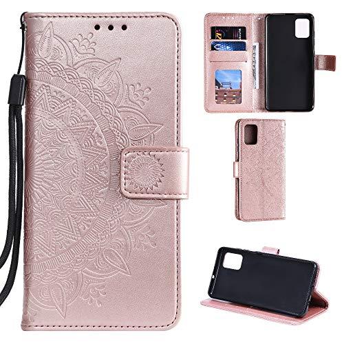 CoverKingz Handyhülle für Samsung Galaxy Note10 Lite - Handytasche mit Kartenfach Galaxy Note10 Lite Cover – Handy Hülle klappbar Motiv Mandala Rosegold
