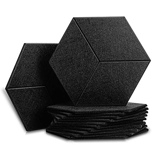 12 Pack Set Acoustic Absorption Panel, 12 X 14 X 0.4 Inches Acoustic Soundproofing Insulation Panel (Black)
