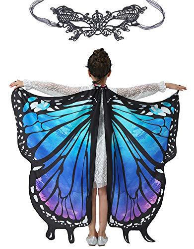 Halloween Butterfly Wings for Girls Kids Butterfly Costume Fairy Shawl Festival Rave Dress (Starry Sky)