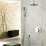 OZSGH Set de Ducha Baño Grifo de bañera 8 ''Rainfall Head Sink - Montado en la Pared,Grifo para Ducha de Mano, ABS, Juego de Ducha, Cromo Pulido