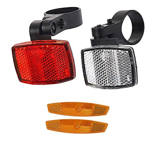 YeenGreen Fahrrad Reflektor Set, 1 Fahrrad Reflektor Vorne, 1 Fahrrad Reflektor Hinten, 2 Speichenstrahler für Mountainbike Rennrad Erwachsene Kinder